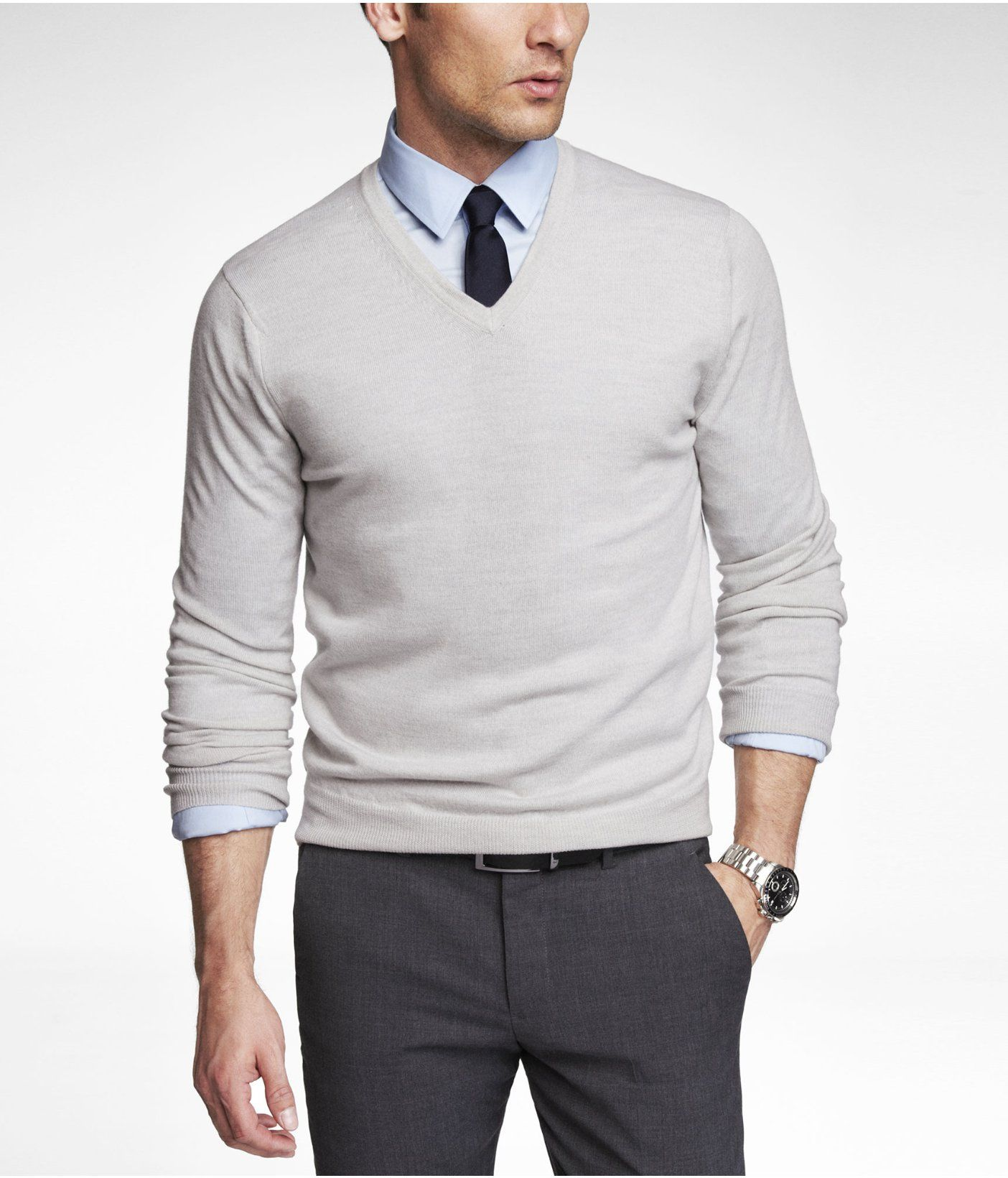 MERINO WOOL V-NECK SWEATER -- Silver Gray -- S or XS