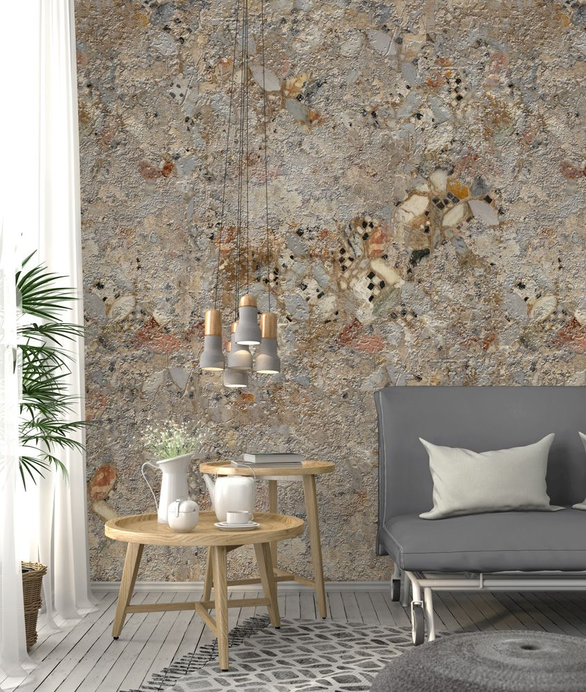Vlies Fototapete Used Beton Stein Mosaik 200x280cm Vergoldete Wande Fliesen Tapete Wand Dekor