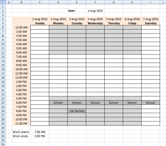 Schedule Recurring Events In A Weekly Schedule In Excel  Excel