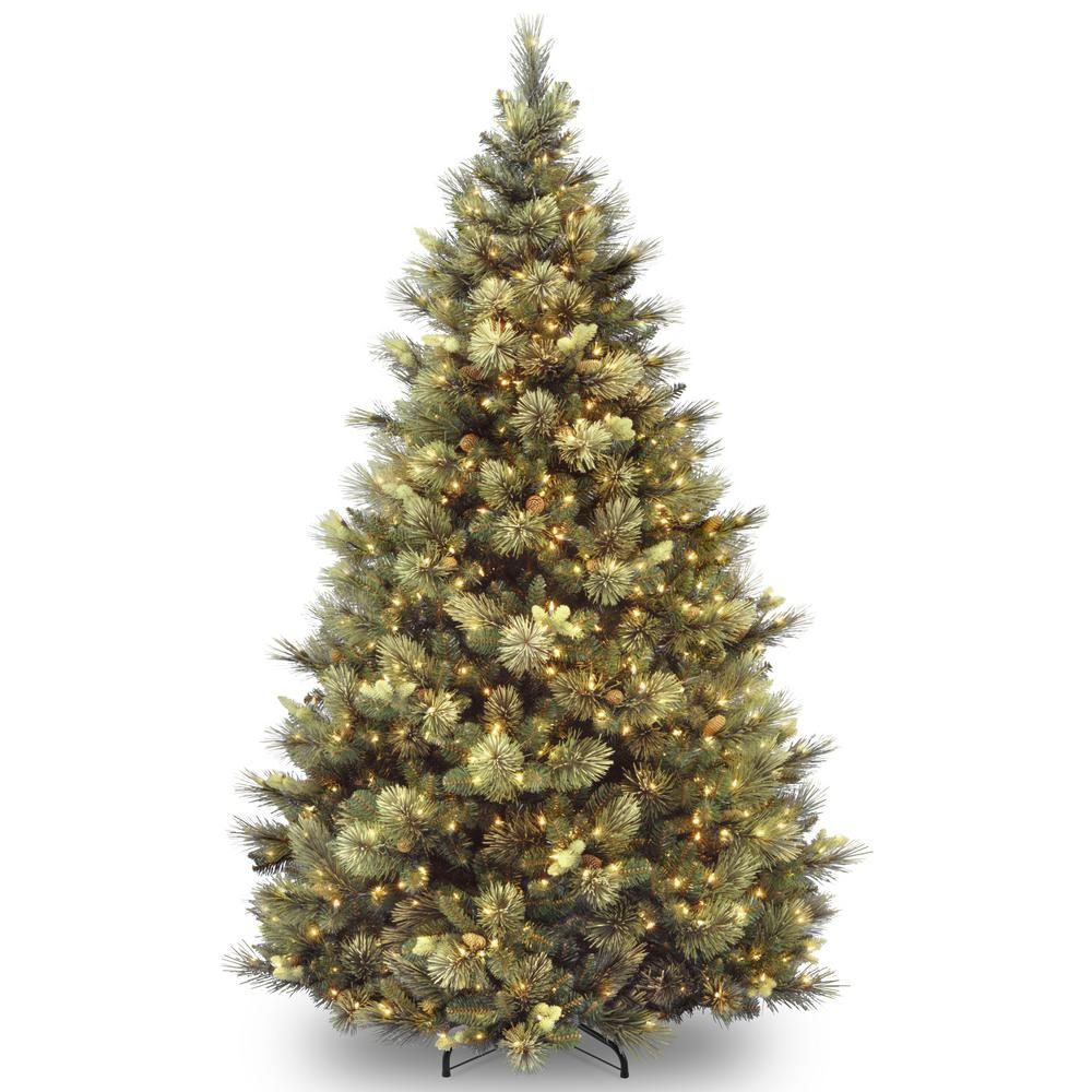 National Tree Company 7 Ft Carolina Pine Hinged Tree With Flocked Cones And 850 Clear Lights Cap3 346 70 The Home Depot Best Artificial Christmas Trees Pine Christmas Tree Artifical Christmas Tree