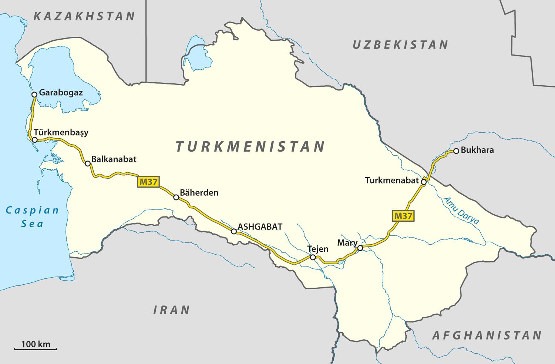 Turkmenistan Map Uzbekistan Kazakhstan Turkmenistan y Takistan