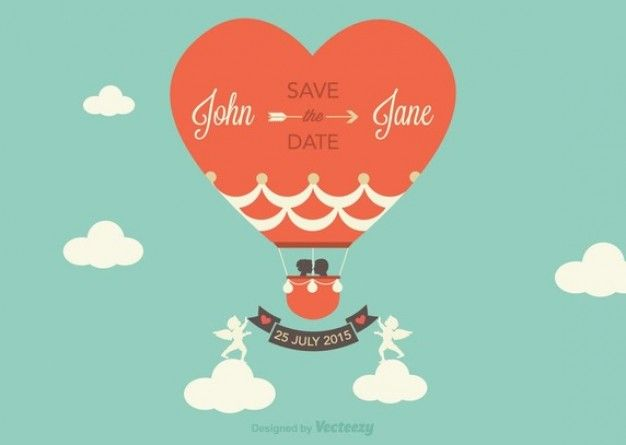 Wedding card with hot air balloon Vector Free Download