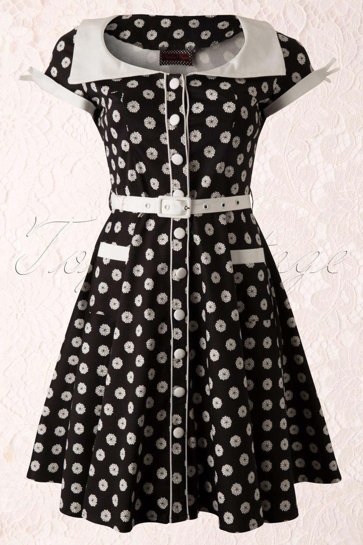 Vixen - 50s White Floral Swing Dress Black