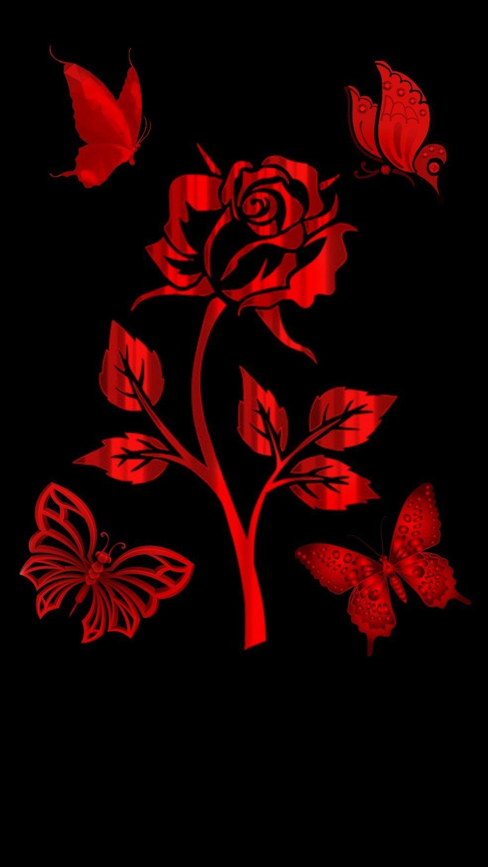 Red Wallpaper Red Wallpaper Butterfly Wallpaper Iphone Phone Wallpaper