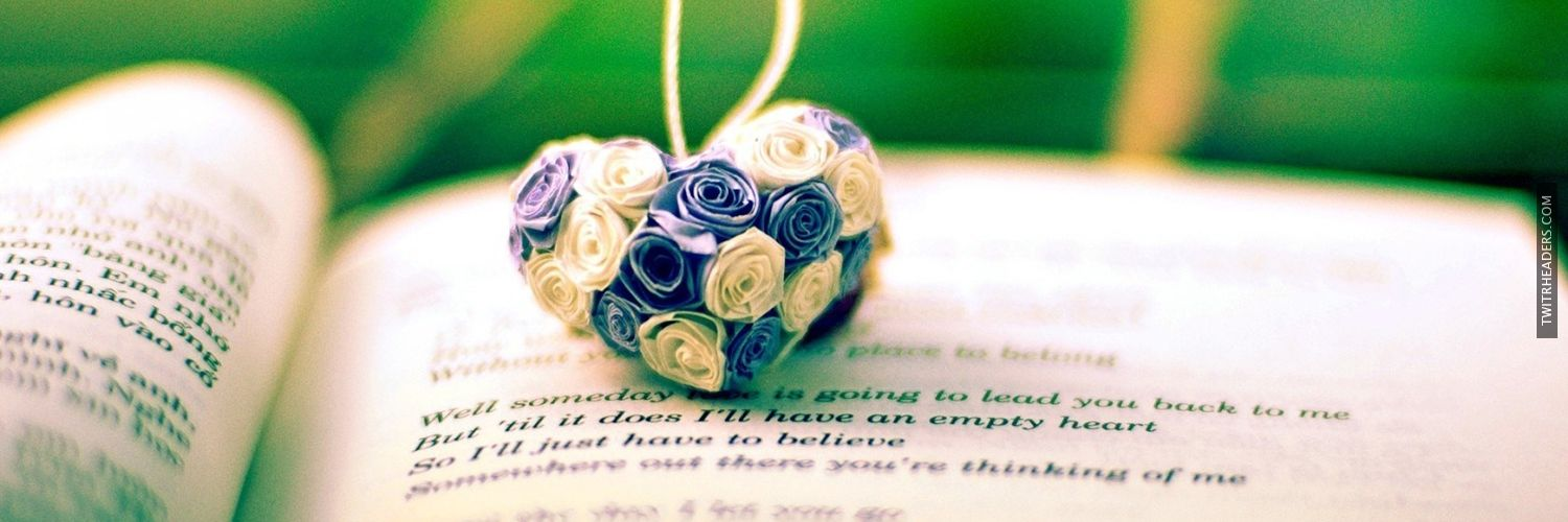 Book Heart Flowers Roses Love Bokeh Twitter Header Cover