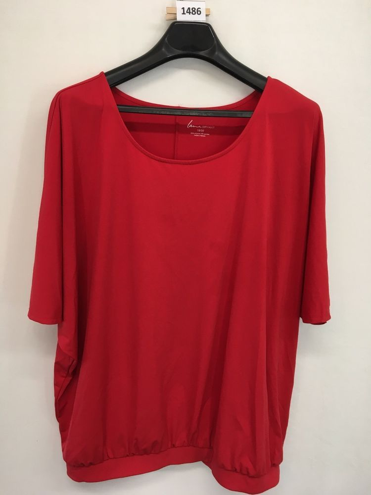 157711f1047 WOMENS 1X PLUS SIZE 18 20 LANE BRYANT TOP RED CASUAL BLOUSE FLOWING   LaneBryant  Blouse  Casual