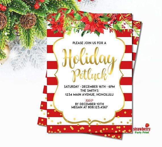 Christmas Potluck Invitation Holiday Potluck Invitation Party