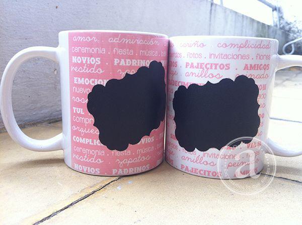 Mugs con adhesivo de tiza para marcar