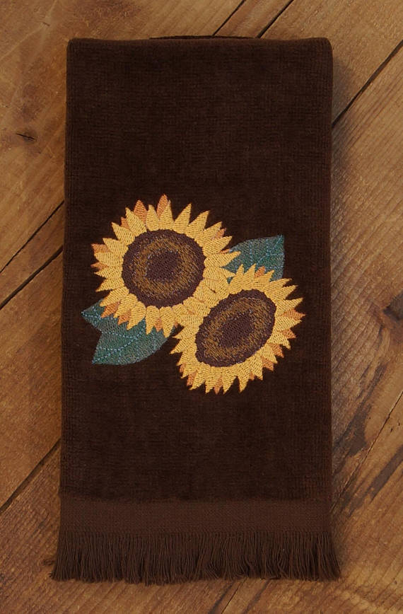 Embroidered Fingertip Towel with Sunflower Design on 100/% Cotton Velour Terry