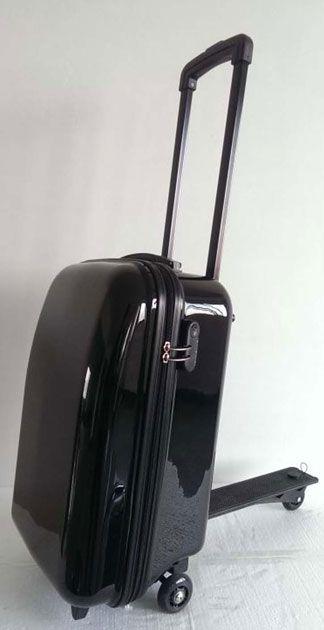 Swissbags | SW41BAGS | 58 cm | schwarz | Hartschalenkoffer mit Cityroller-Funktion | #Cityroller