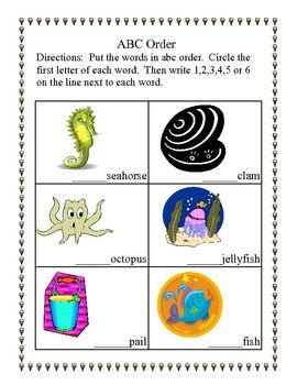ABC Order Practice for First Grade-Beach Theme | TPT