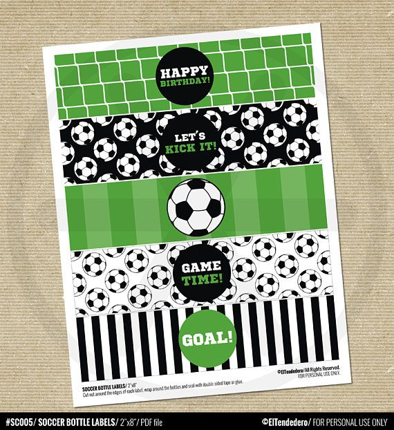 Soccer Water Bottle Labels. Sports Party Labels. Printable ...