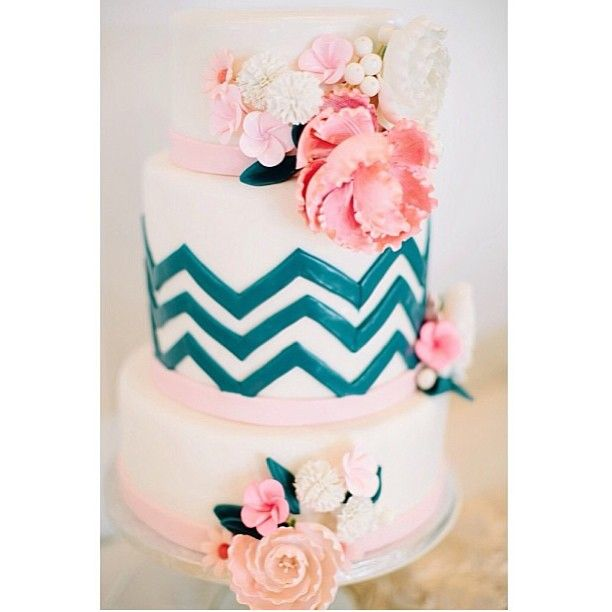 Beautiful Wedding Cakes By The Baking Grounds Bakery Café: Chevron Wedding Cake / 2tarts Bakery / New Braunfels, TX