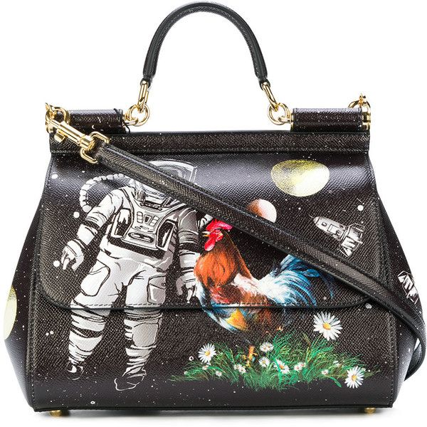 7344b7ba1d4 Dolce & Gabbana Sicily astronaut printed tote bag ($2,305) ❤ liked on  Polyvore featuring bags, handbags, tote bags, black, tote purses, genuine  leather ...