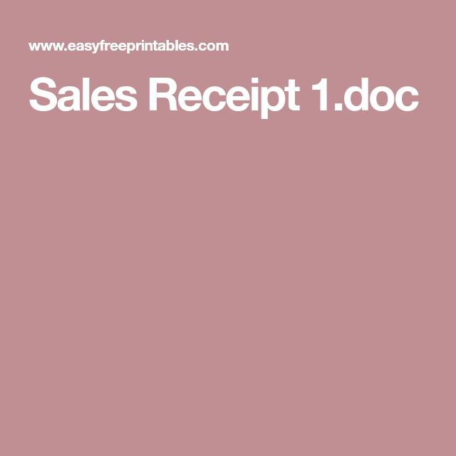 Sales Receipt 1 Doc Free Receipt Template Invoice Template Word Receipt Template