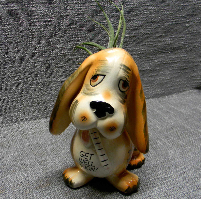 Vintage Basset Hound planter  Granny kitsch
