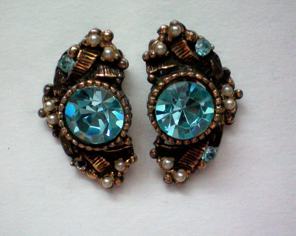 Ice Blue Clip Earrings