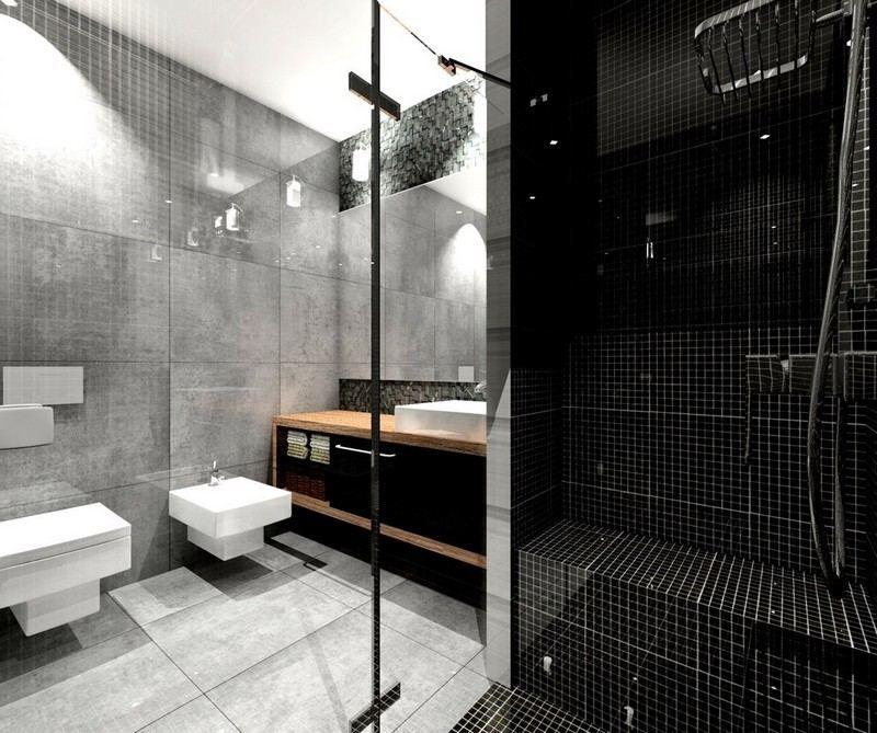 salle de bain noir et blanc ou en tons contrastés en 40 idées ... - Mosaique Noire Salle De Bain