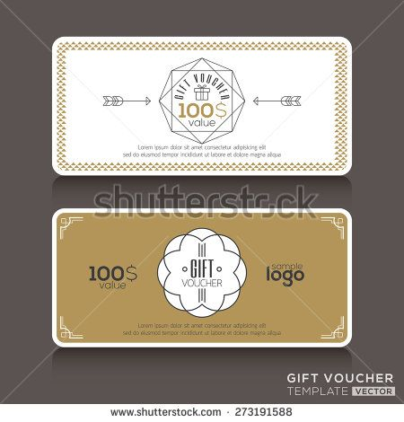 Gift certificate voucher coupon template with line art hipster - gift certificate voucher template