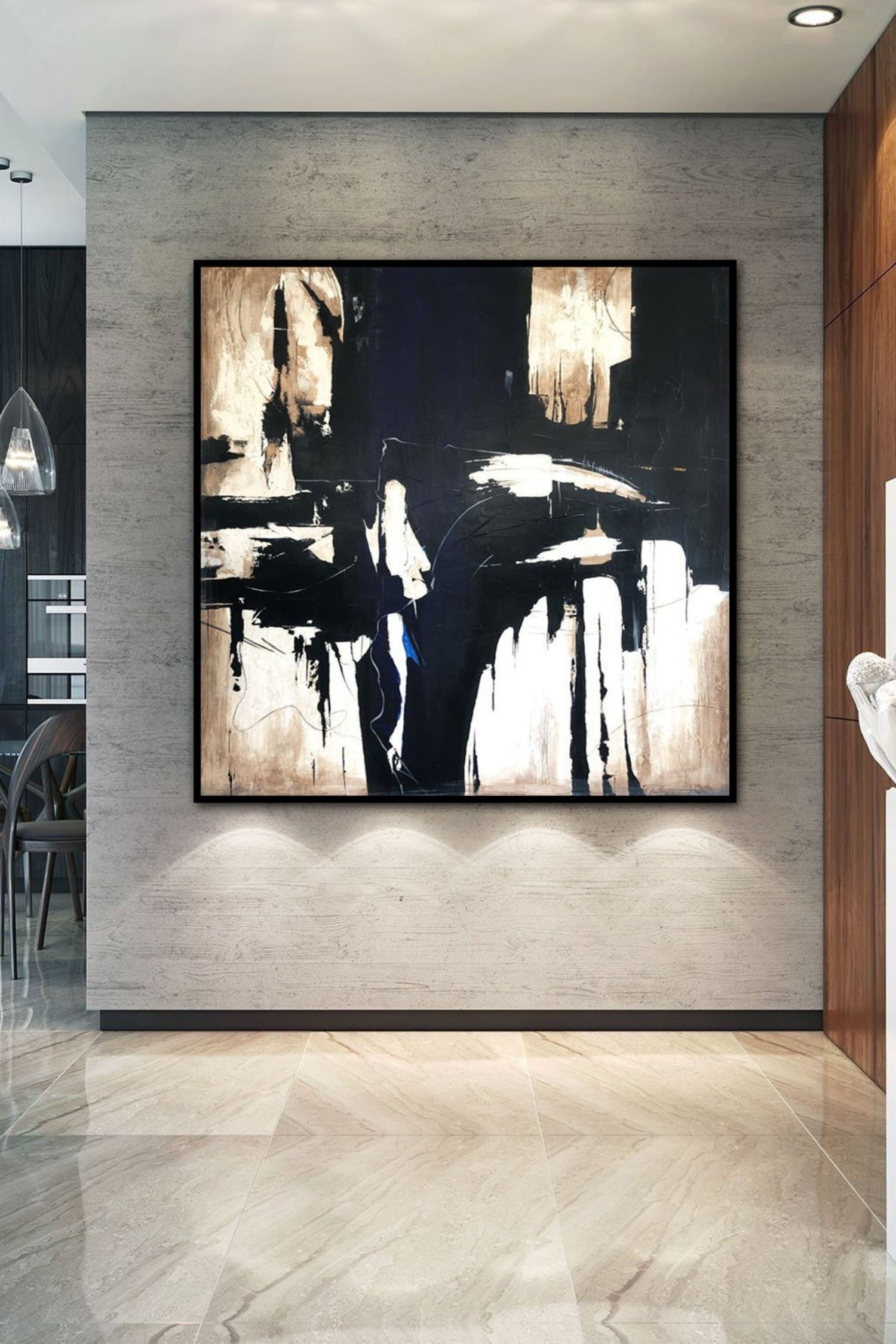 Oversize Wall Art Canvas Beige Painting Black Painting Art