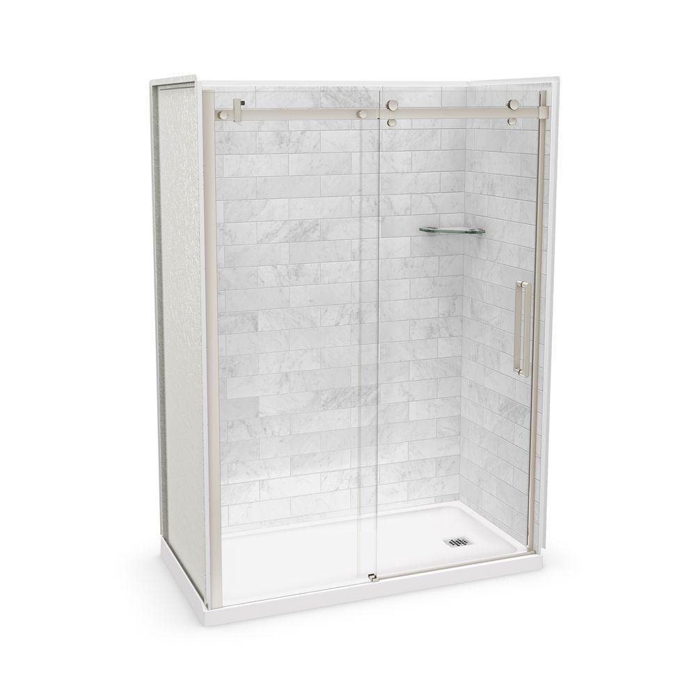 Utile 60 Inch X 32 Inch X 84 Inch Marble Carrara Alcove Shower Kit