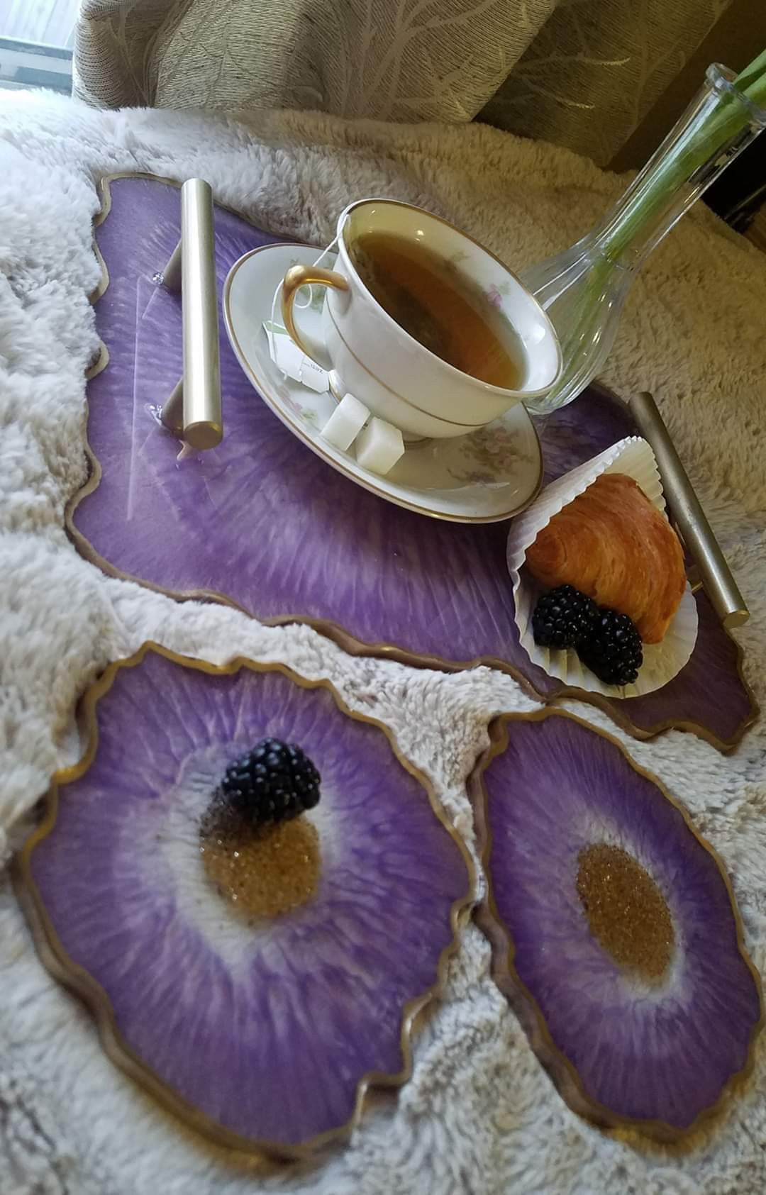 Geode tray and matching coasters