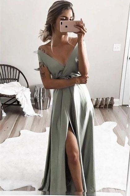 Charming Simple Elegant Long V-Neck Prom Dresses Evenng Dresses