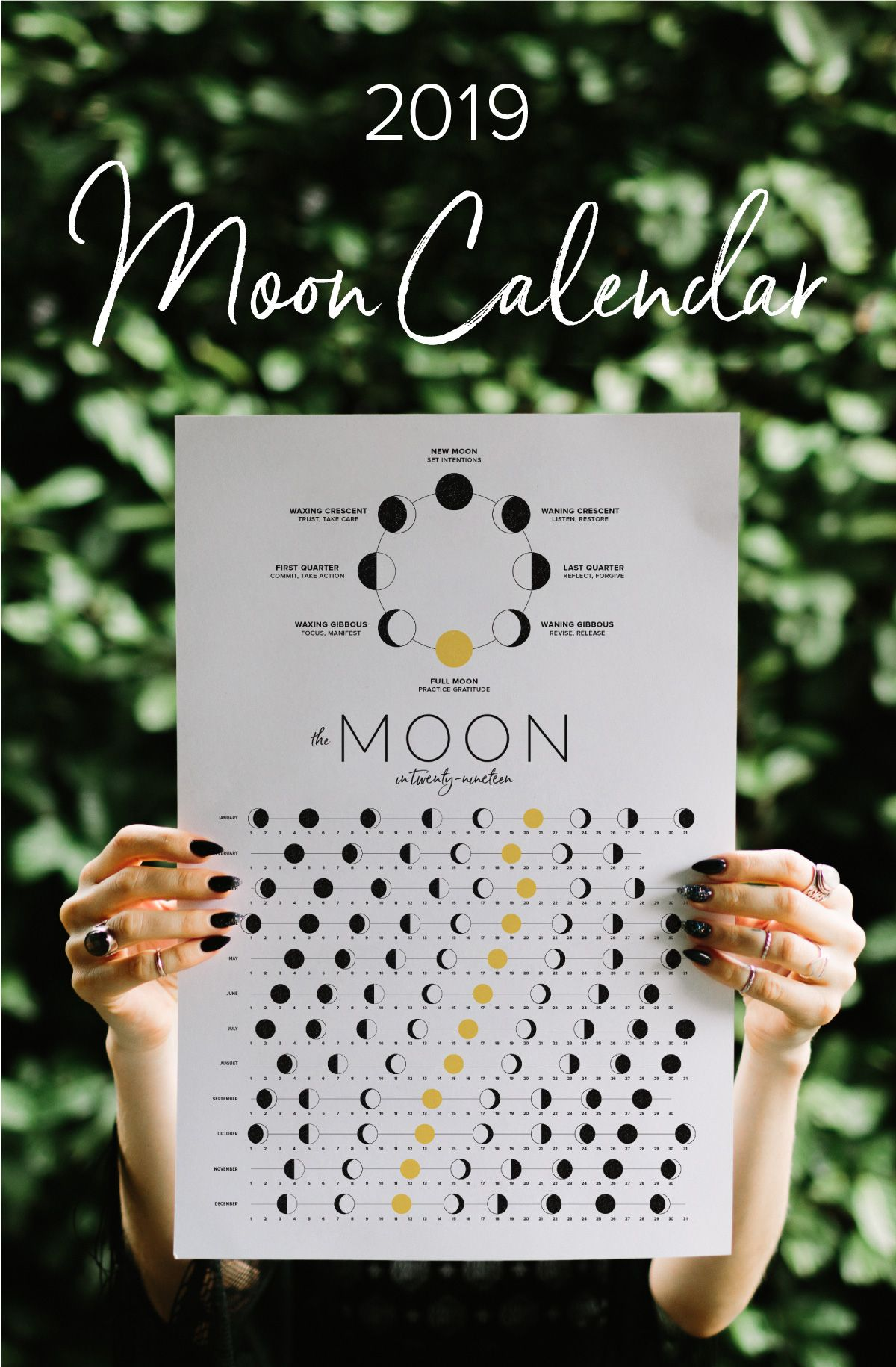 A Moon Calendar Featuring Intention Setting Cues