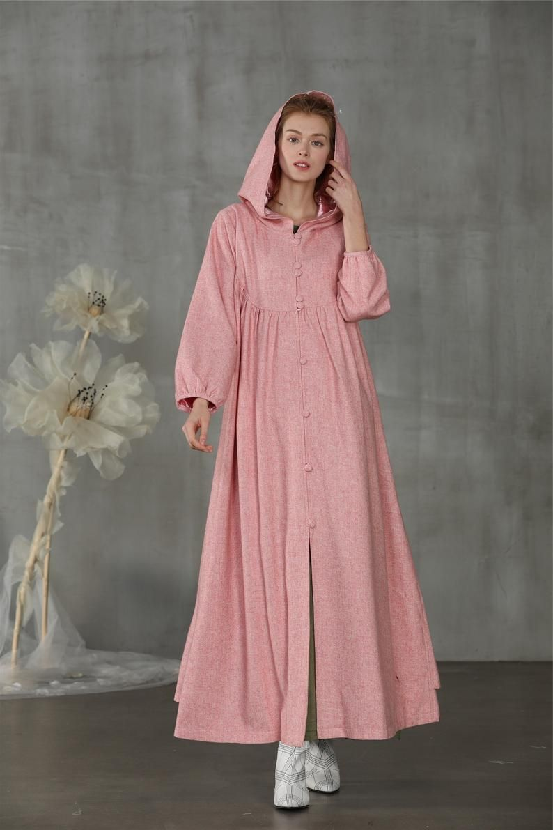 pink wool dress, maxi dress, hooded dress, wool maxi dress, wool coat, hooded dress, long wool dress | Linennaive®