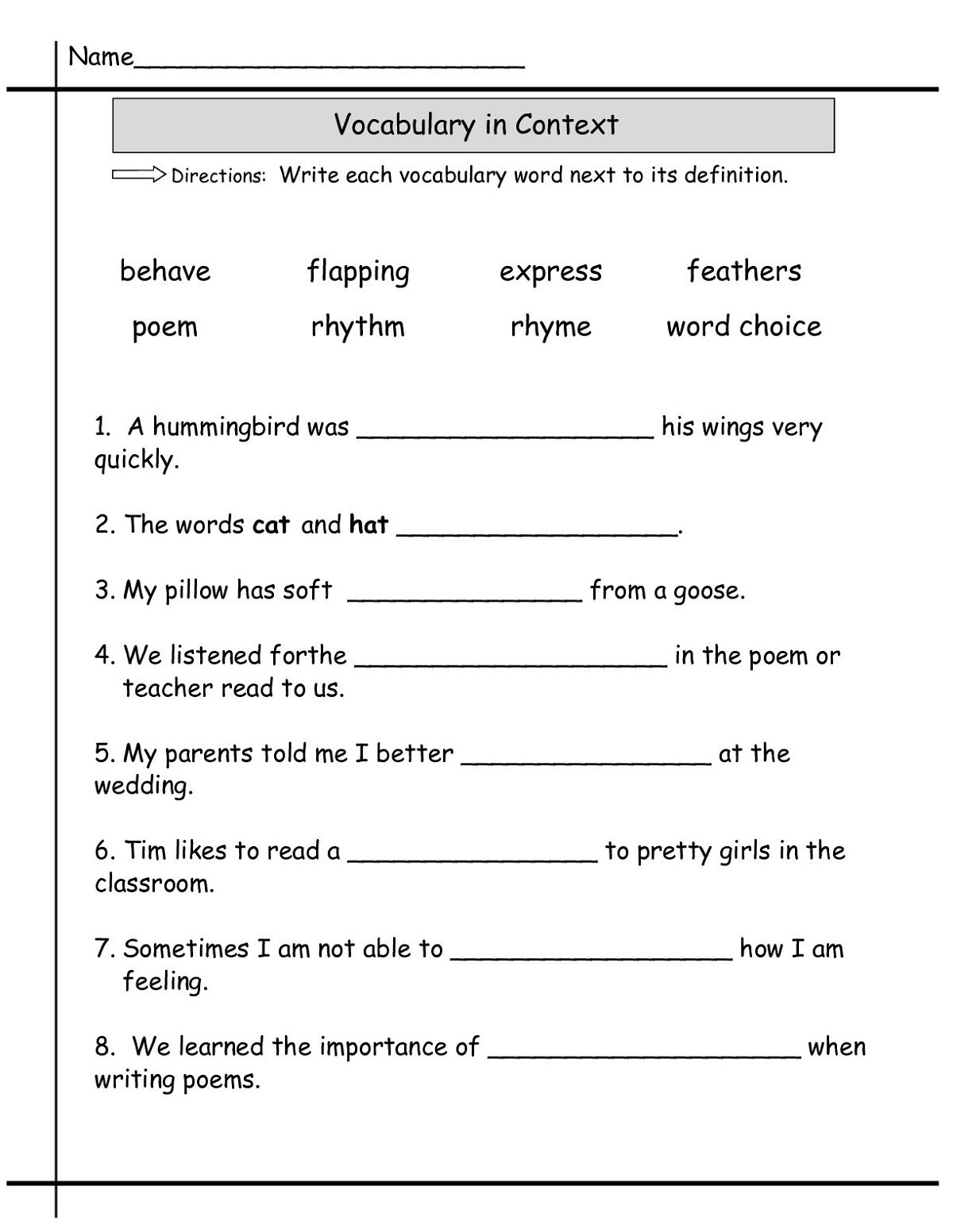Second Grade Worksheets Vocabulary
