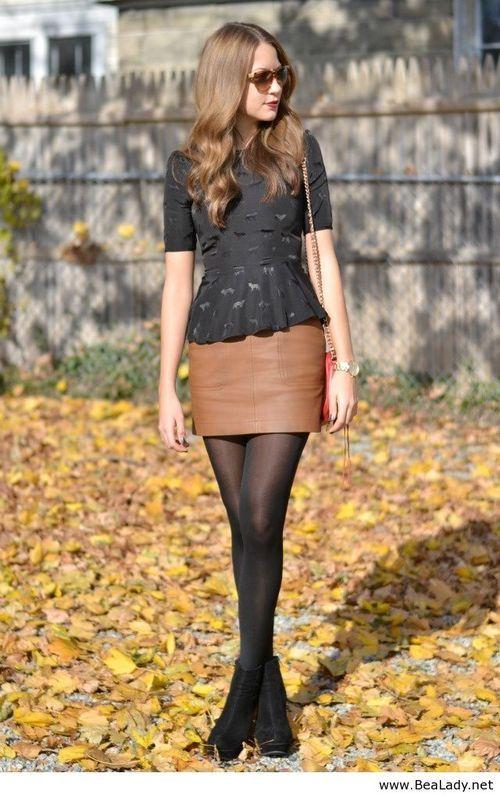 Leather skirt and pantyhose — img 12