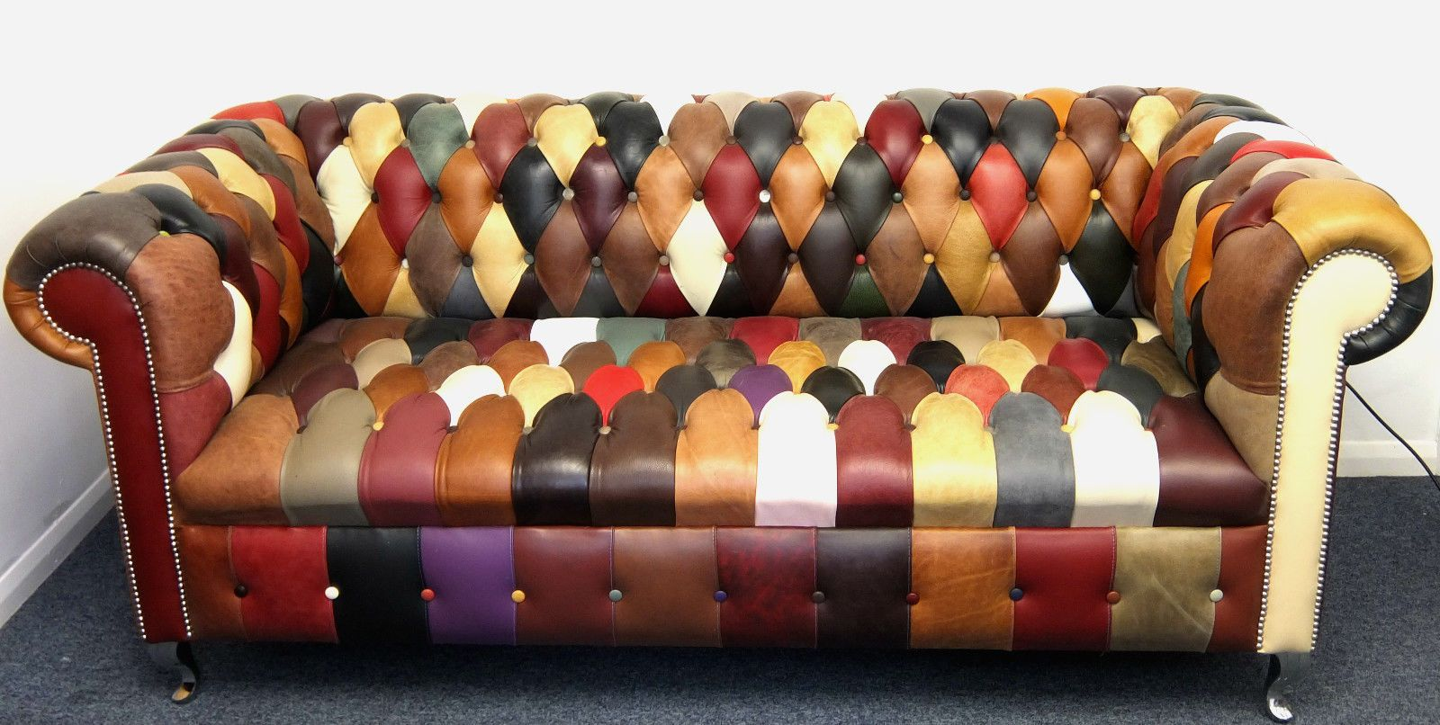Kaleidoscope Chesterfield Large Sofa Rrp 2495 Patchwork Leather Seat Ebay