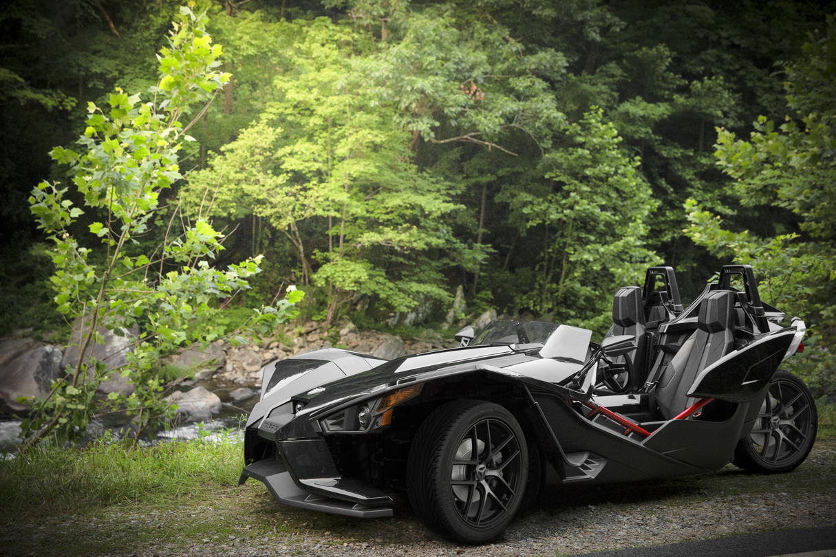 The 2016 polaris slingshot in the limited edition black pearl color scheme woodscyclecountry