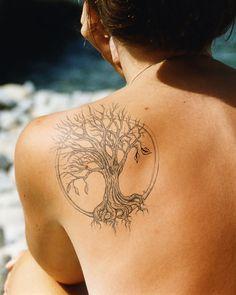 Modele Tatouage Arbre De Vie Dans Cercle Avec Racine Et Branche En