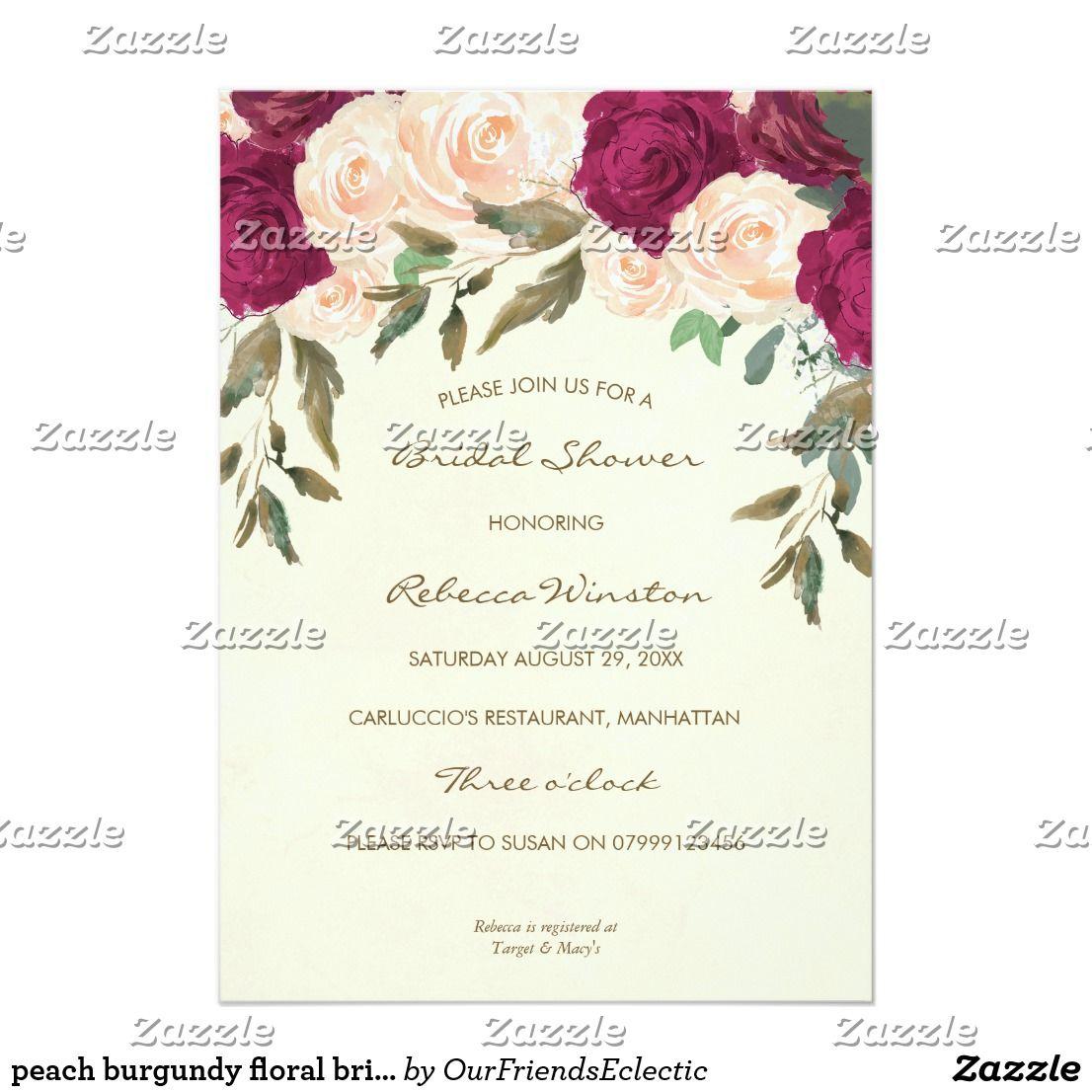 peach burgundy floral bridal shower invitation Zazzle.co