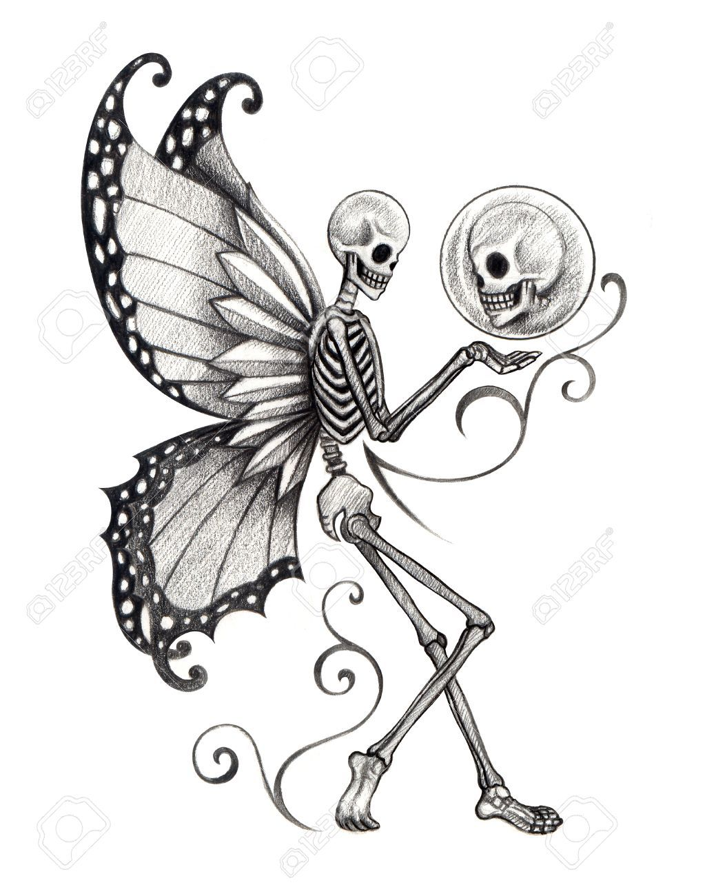 Butterfly On Skeleton Hand Print A4 by LHartArt on Etsy