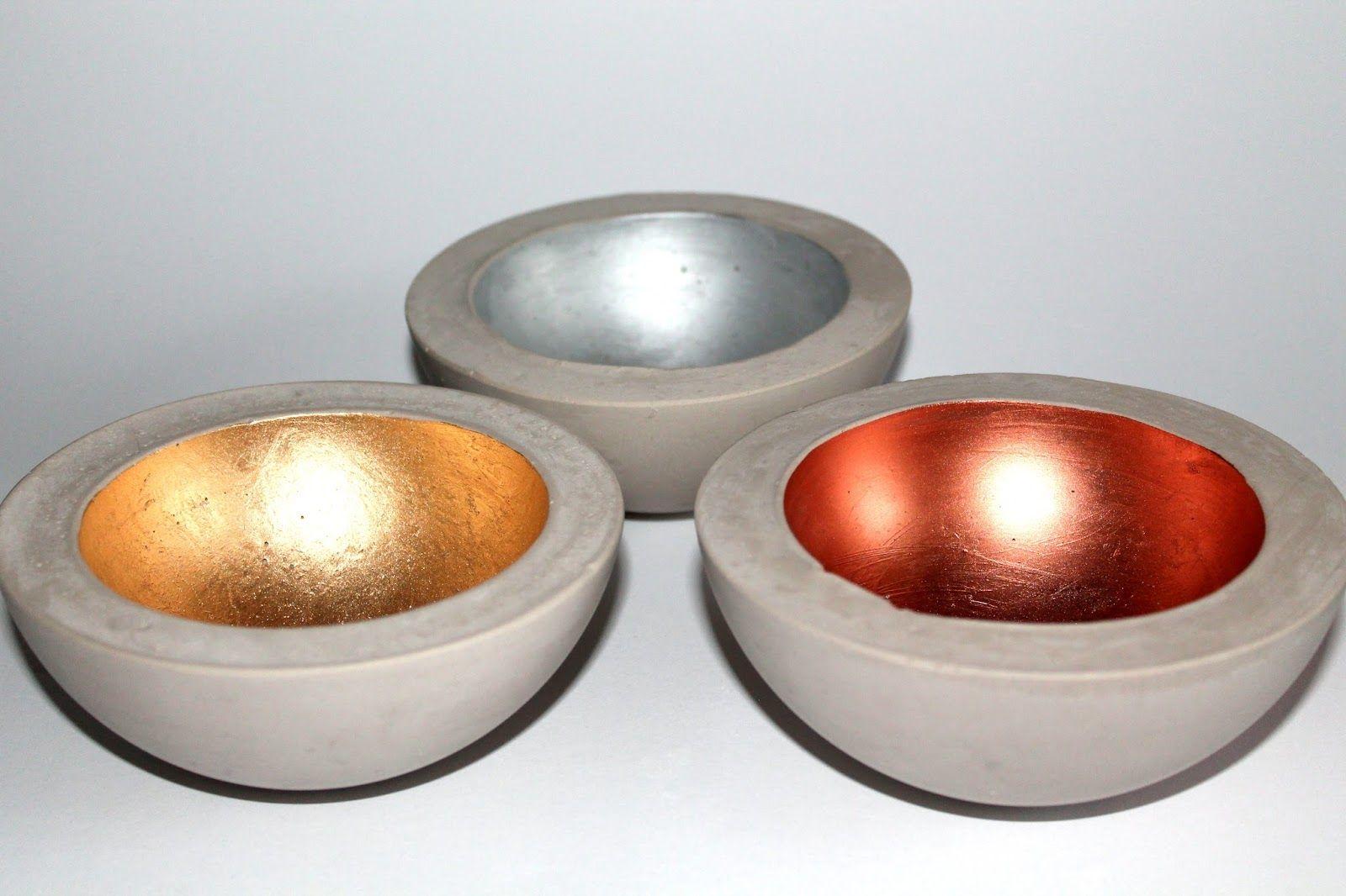 DIY Gips / Beton Schale in Kupfer, Silber und Gold einfach selber machen!