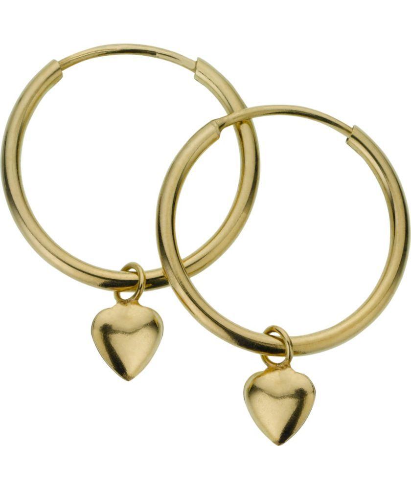 Sterling Silver 9ct Bonded Gold Heart Drop Hoop Earrings At Argos Co