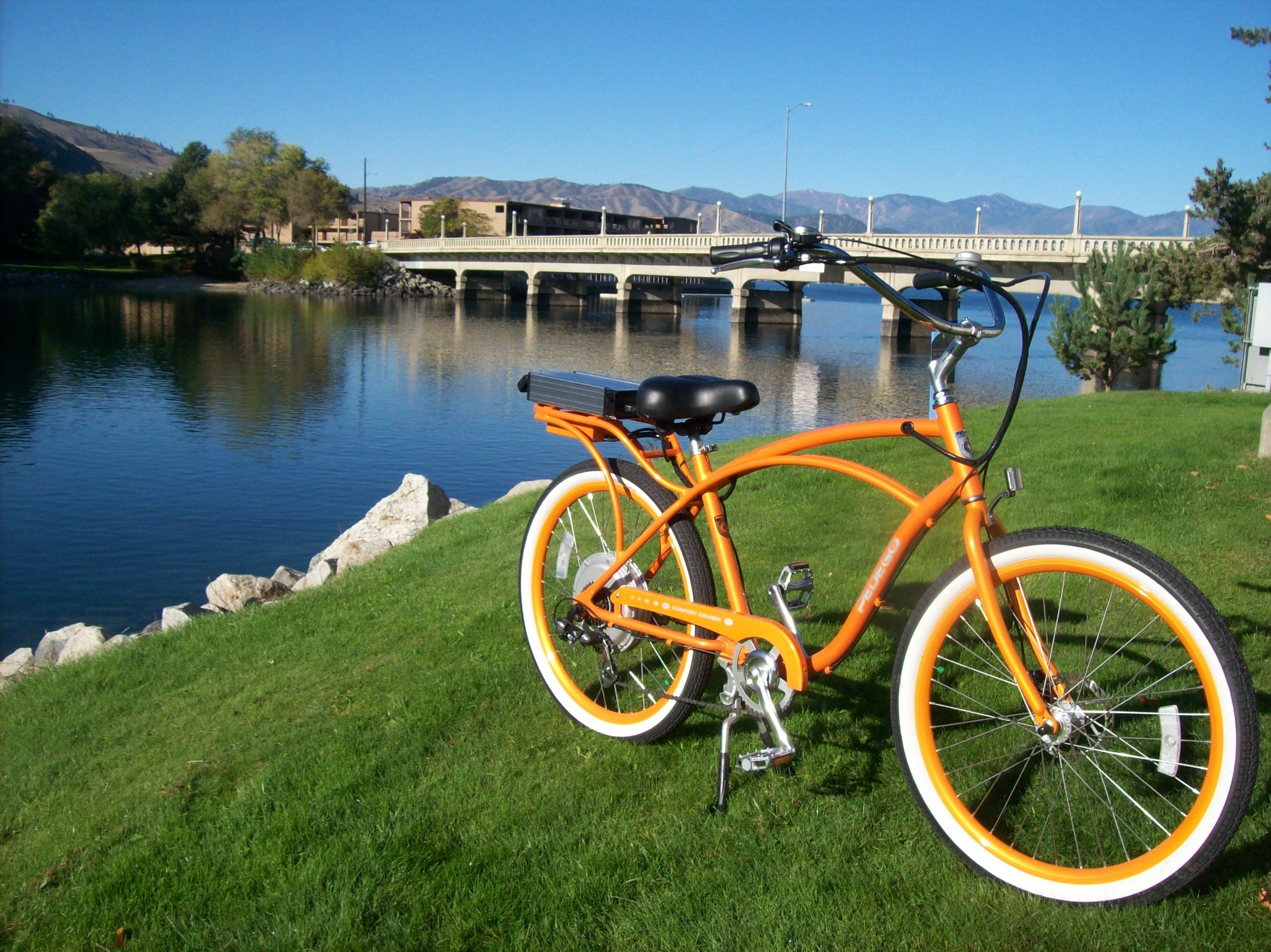 A Mervs Pedego electric bicycle in River Walk Park Chelan