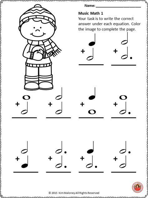 Music Math Winter Music Activities 24 Winter Music Worksheets