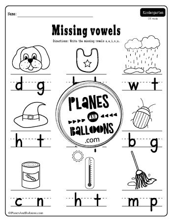Missing Vowel Worksheets For Kindergarten Free Printable Pdf Planes Balloons Let S Make Learning Fun In 2020 Phonics Worksheets Free Kindergarten Worksheets Vowel Worksheets