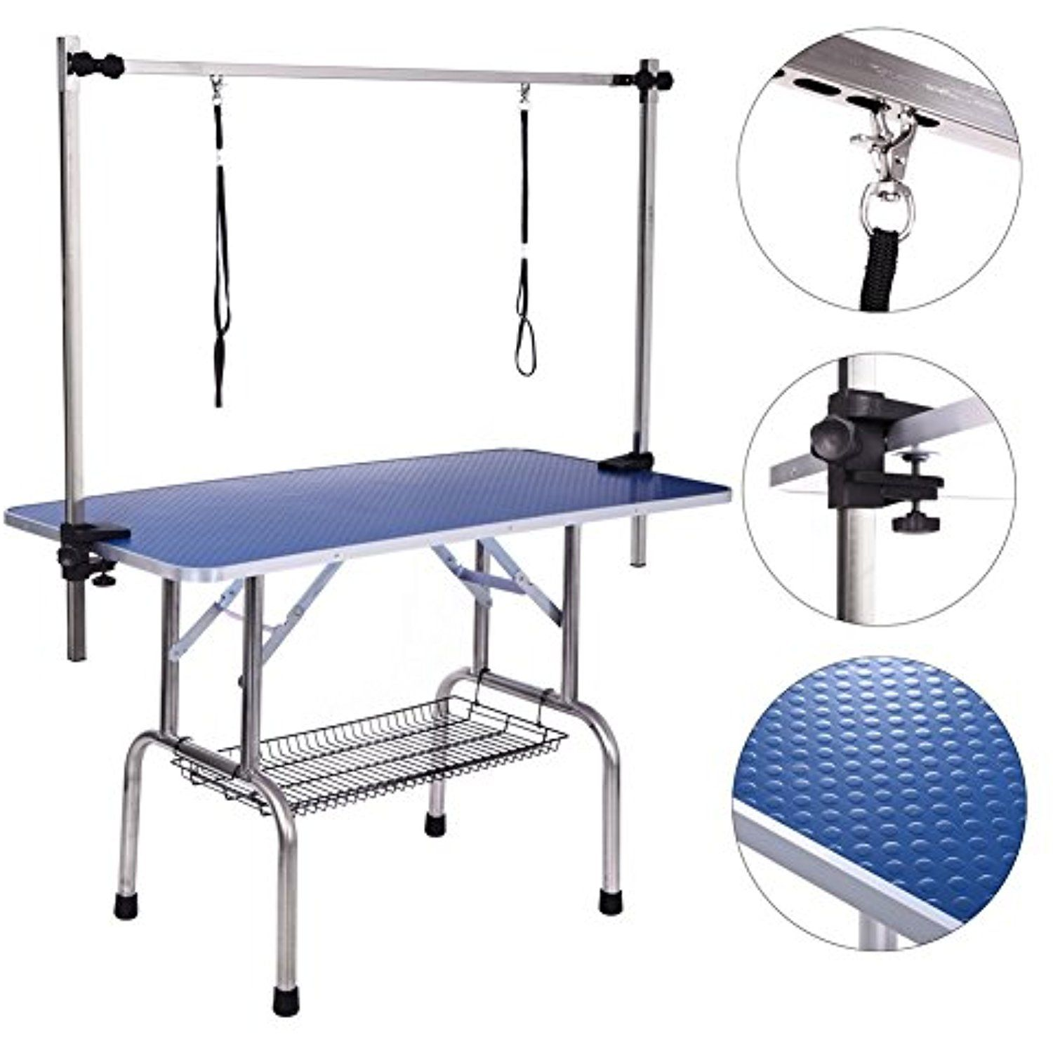 Dog Grooming Table Adjustable Clamp Overhead Pet Grooming Arm With Double Grooming Loop 36 By 24 See Th Dog Grooming Pet Grooming Dog Washing Station