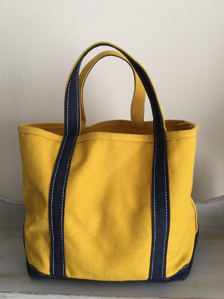 Ll Bean Boat Tote Mustard Yellow Blue Canvas Bag Medium Preowned
