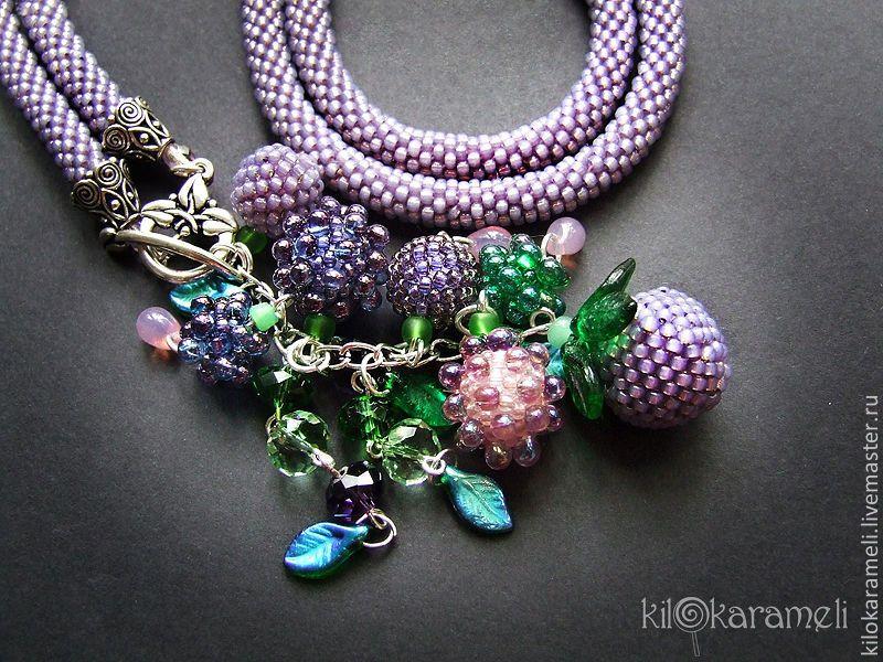 Ежевика - фиолетовый,лариат из бисера,бисерный жгут,бисерный шнур,сотуар