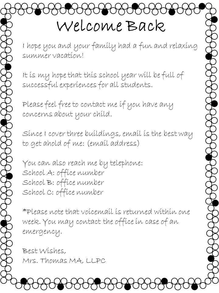 Open House Welcome Back Letter From The School Counselor  Letter