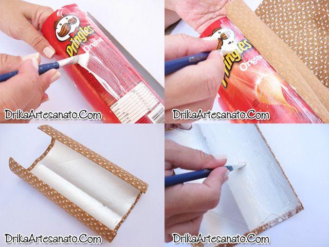Artesanato com reciclagem: latinha de batata decorada