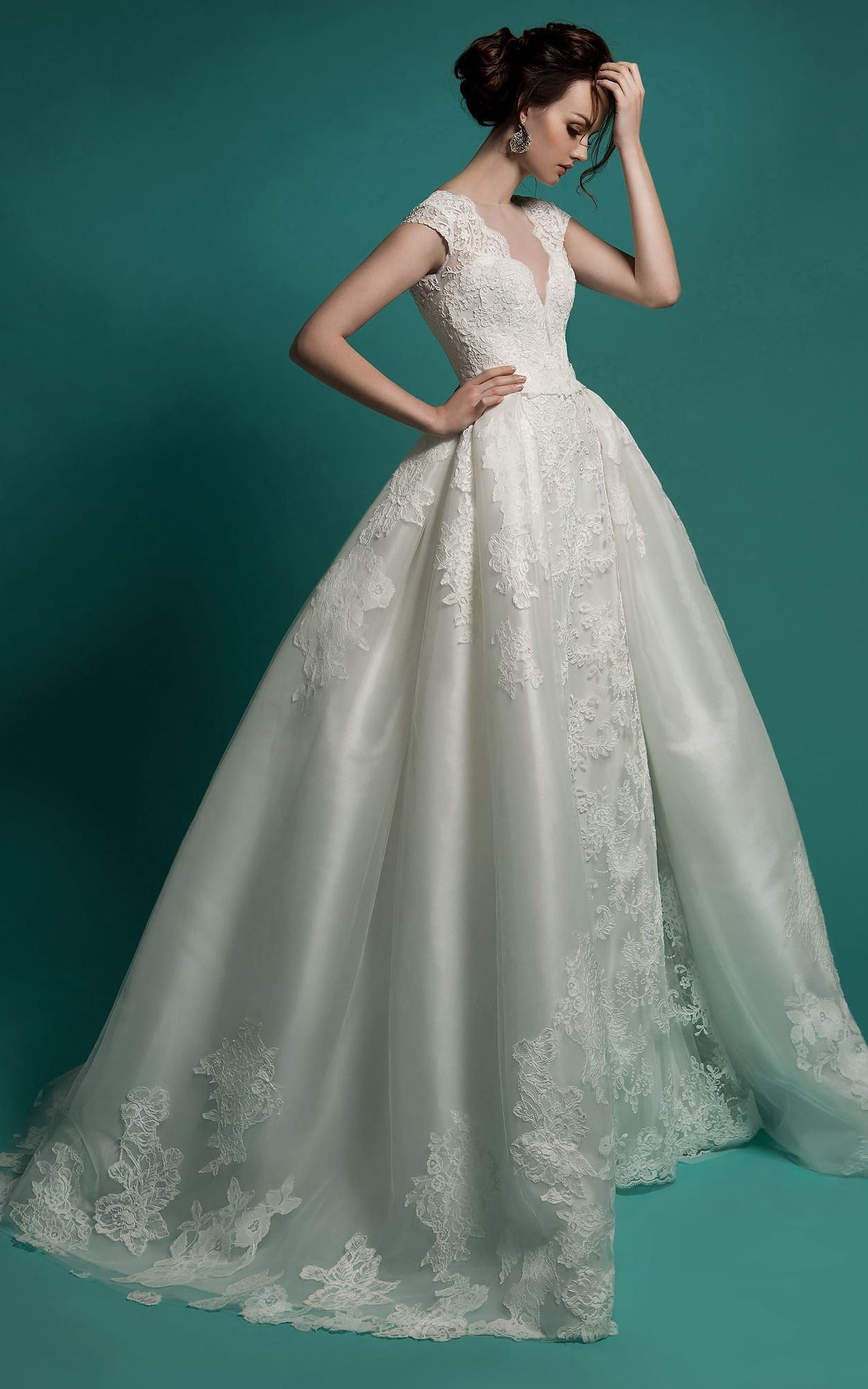 Wedding dress with removable train  Mermaid FloorLength VNeck CapSleeve Zipper Lace Dress With Sash