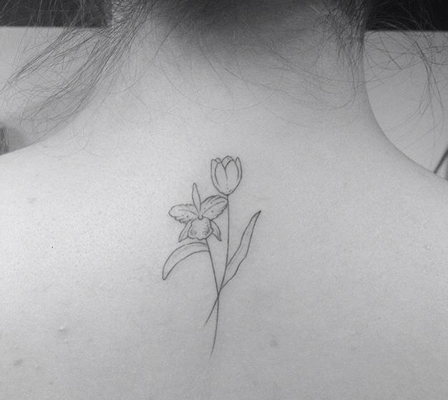 Tattoo By Brusimoes Orchid And Tulips Tulip Floral Back Tattoos