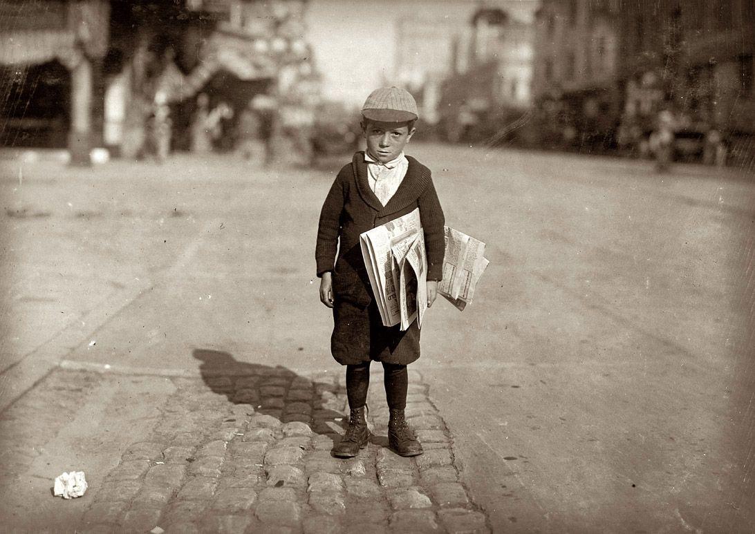 6 year old paper boy  1915  1092x773
