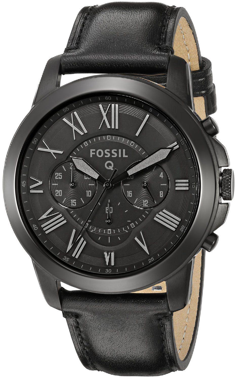 3b621cb101ca Fossil Q Grant Black Leather Hybrid Smartwatch  Clothing